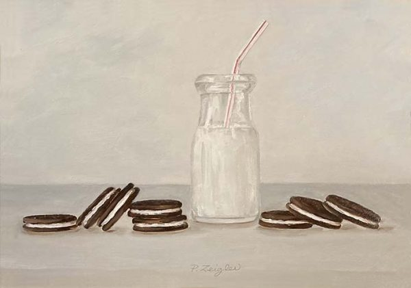 Patti Zeigler painting of oreos scattered next to bottle of milk with straw