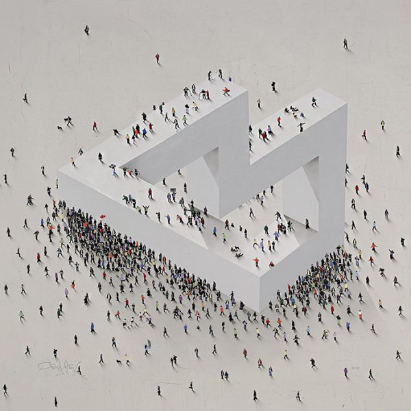 Craig Alan painting MC Escher-esque with structure and tiny people