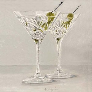 Patti Zeigler painting of fancy martini glasses