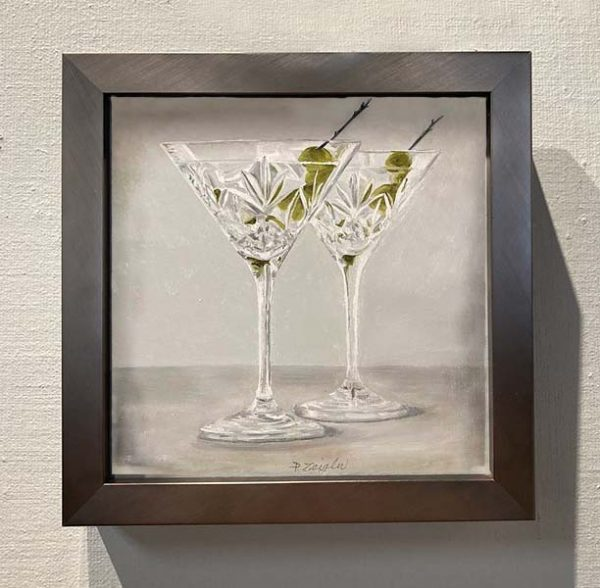 Framed Patti Zeigler painting of fancy martini glasses
