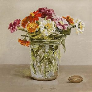 Patti Zeigler painting of zinnias in a mason jar vase with a small sea shell