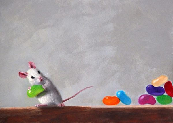 Stuart Dunkel painting of mouse stealing jelly beans