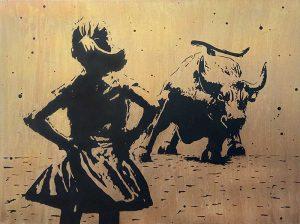 Joseph Zielinski painting of fearless girl staring down bull in Wall Street