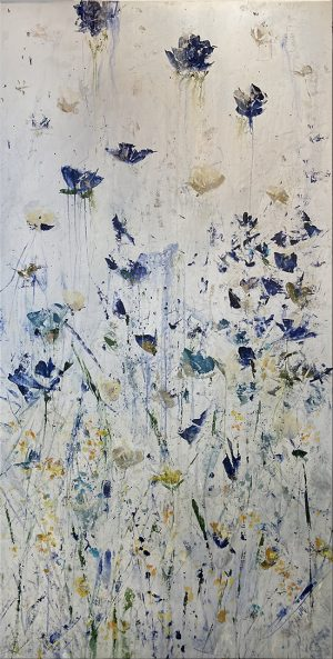 Jodi Maas painting of wildflowers against pearlescent background