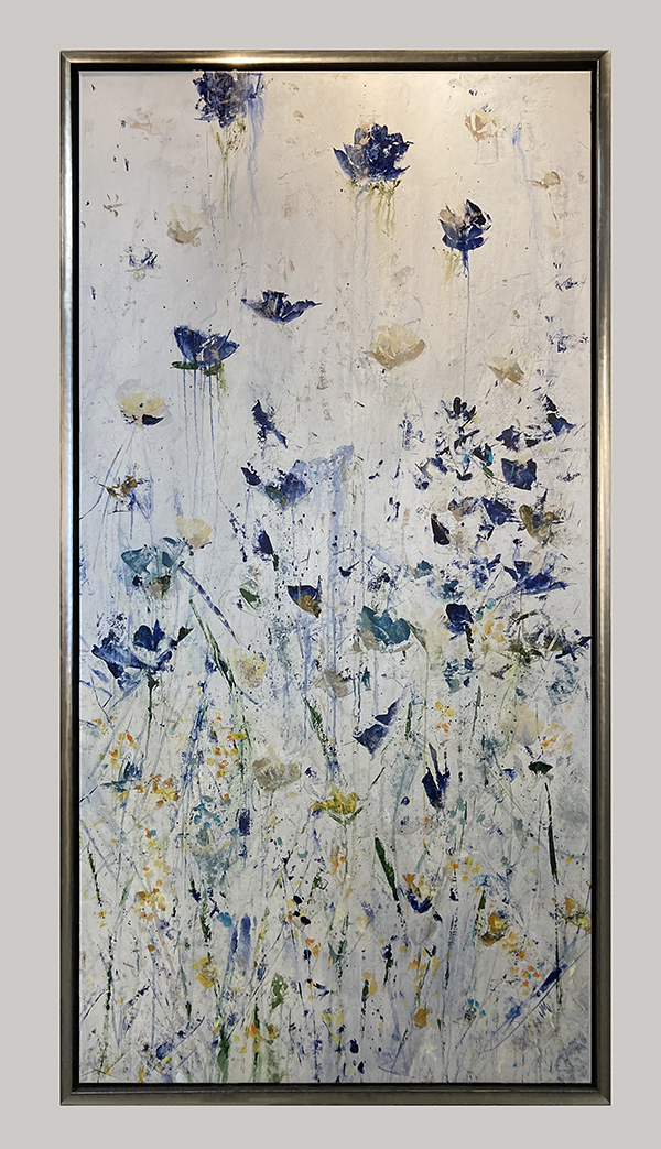 Framed Jodi Maas painting of wildflowers against pearlescent background
