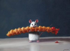 Stuart Dunkel painting of mouse holding a french fry with ketchup