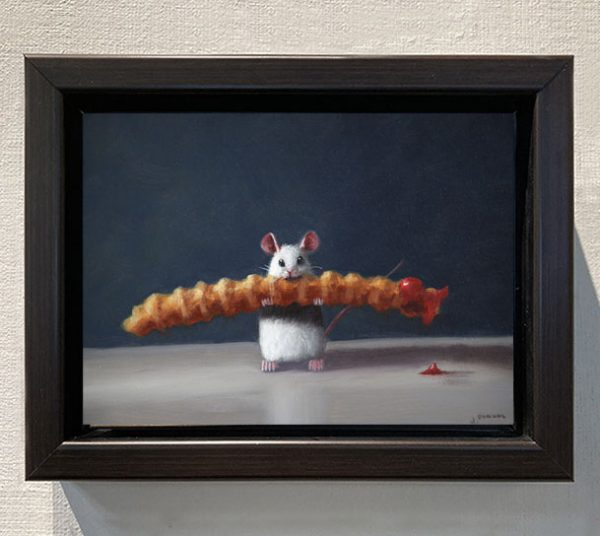 framed Stuart Dunkel painting of a mouse holding a crinkle french fry
