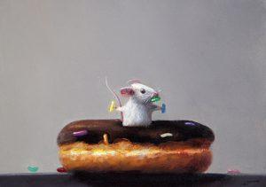 Stuart Dunkel painting of mouse inside donut hole holding sprinkles