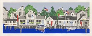 Eric Holch print of docks with boats and houses along water