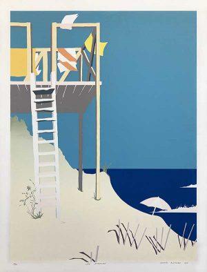Nicholas Alexander print of lifequard tower on beach in summer