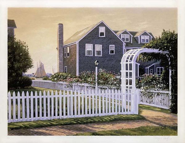 Sergio Roffo print of beach house with white picket fence and gate at dawn