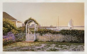 Sergio Roffo print of garden fence by beach at dawn/dusk