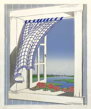 Eric Holch print of open window facing the ocean with a curtain blowing in breeze