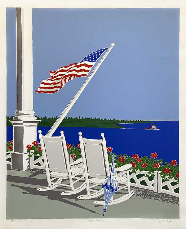 Eric Holch print of porch overlooking ocean with 2 rocking chairs and American flag blowing in breeze