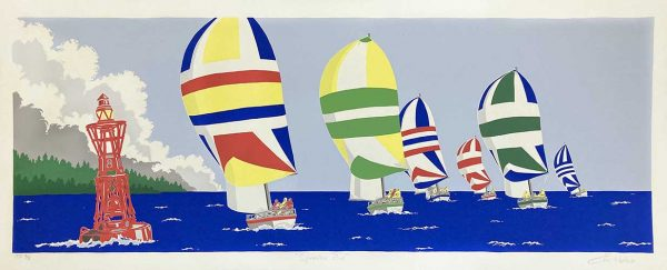Eric Holch print of multicolored sailboats on ocean
