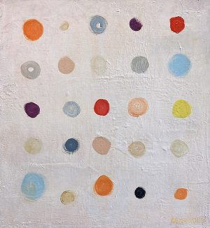 Ellen Hermanos painting of brightly colored dots in neat rows and columns