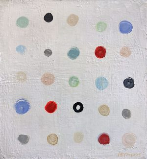 Ellen Hermanos painting of colorful dots in rows and columns
