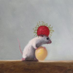 Stuart Dunkel painting of a mouse holding a lychee and wearing another one on his head