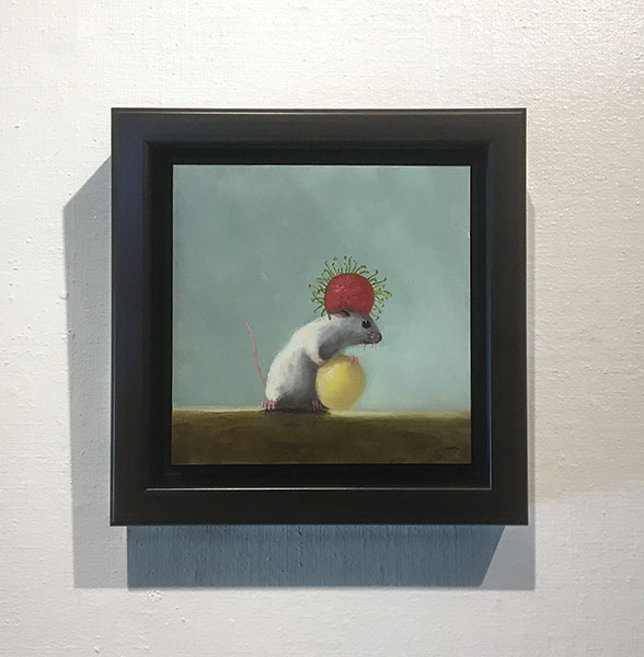 Framed Stuart Dunkel painting of a mouse wearing a red lychee on its head and holding a white lychee