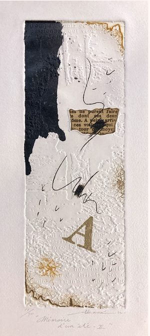 Akane Kirimuru print with letters and inked lines & squiggles