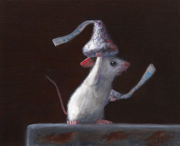 Stuart Dunkel painting of a mouse holding Hershey Kisses