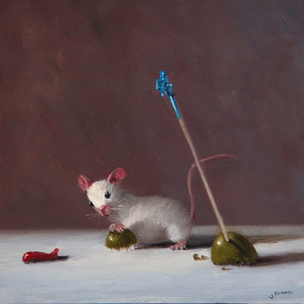 Stuart Dunkel painting of a mouse and an olive with a toothpick in it