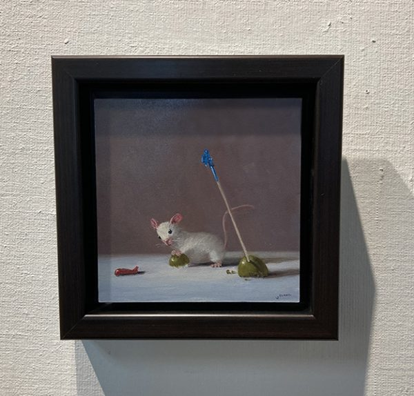 Framed Stuart Dunkel painting of a mouse and olives with a toothpick