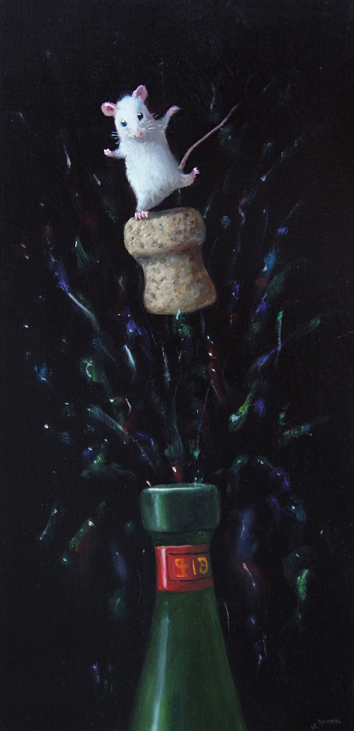Stuart Dunkel painting of a mouse on a popped cork for a bottle of champagne