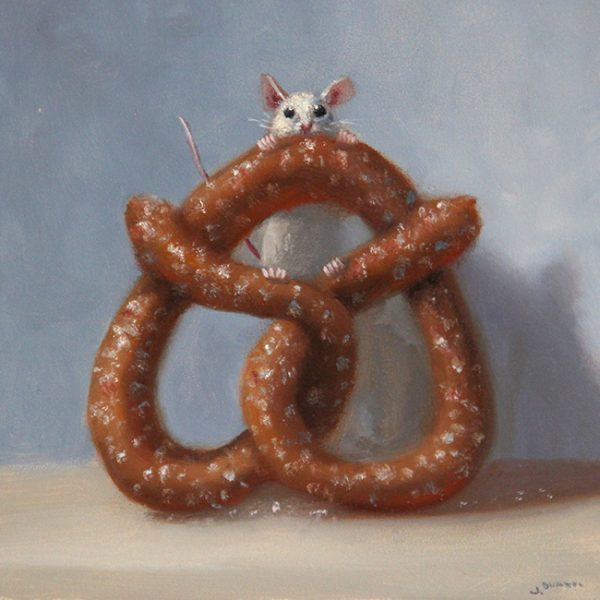 Stuart Dunkel painting of a mouse with a pretzel that is much too big for it