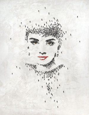Craig Alan print of Audrey Hepburn's portrait made up of tiny people