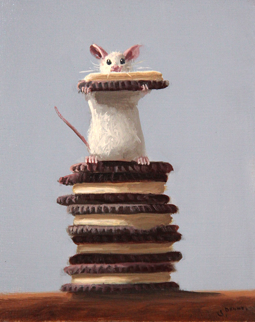 Stuart Dunkel painting of a mouse standing on a pile of Oreo Cookies