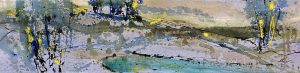 Helen Zarin painting of abstracted seascape with field at sunrise/sunset