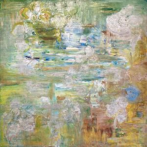 Irena Gorbman painting of abstracted still water pond in spring