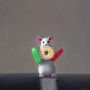 Stuart Dunkel painting of mouse holding candy