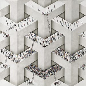 Craig Alan print of MC Escher-esque geometric structures with tiny people on them