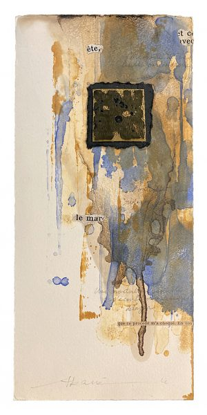 Akane Kirimura original mixed media work with watercolor, collage, and a metal square
