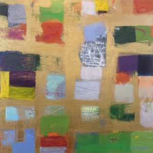 Ellen Hermanos painting of bright color swatches on gold background