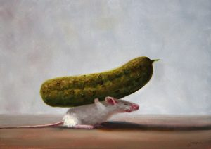 Stuart Dunkel painting of a mouse trying to carry a pickle