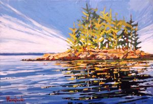 Holly Lombardo painting of a small island with trees and rocks in spring/summer