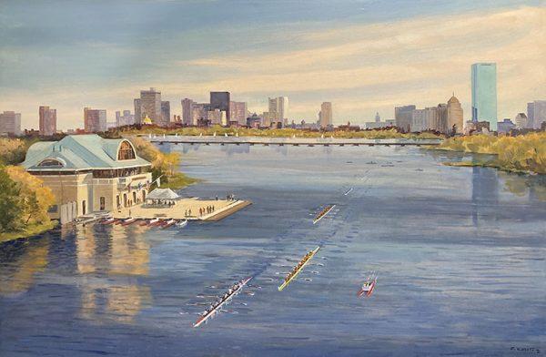Frederick Kubitz painting of BU boathouse on Charles River in Boston