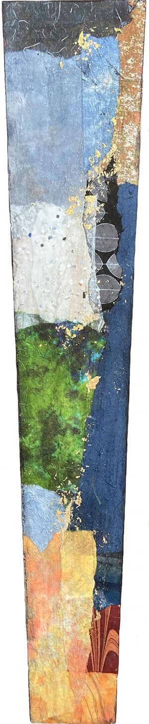 Paul Tiersky collage on oblong rectangular shape panel