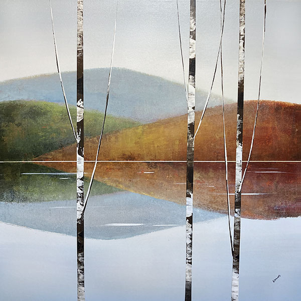 Sydney Edmunds painting of birch trees on a lake surrounded by mountains