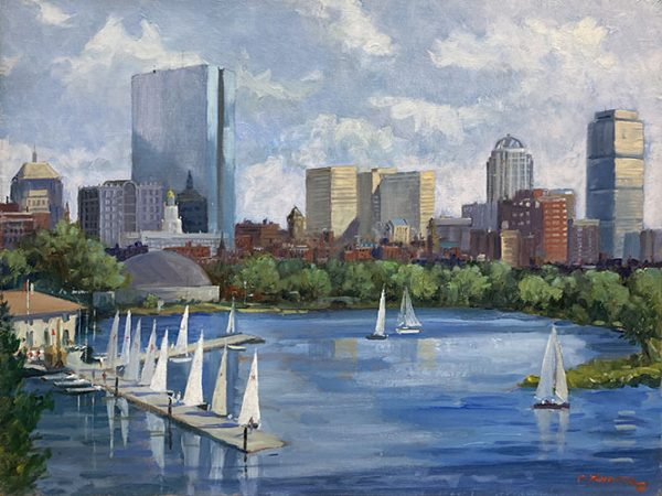 Frederick Kubitz painting of boat club with dock on Charles River seen from Longfellow Bridge