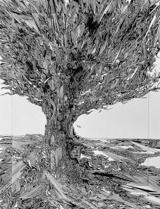 Gary Smith pen & ink drawing of tree with intricate lines