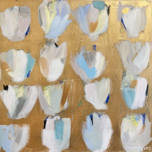 Ellen Hermanos painting of white tulips on gold background
