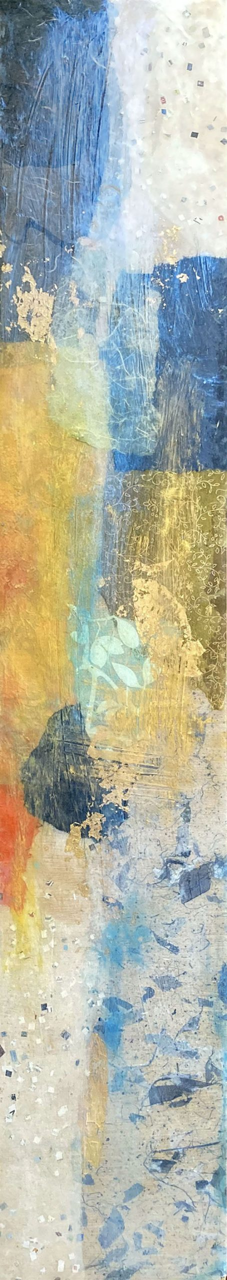 Paul Tiersky mixed media and resin collage with blue and orange