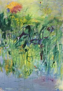 Brenda Cirioni painting of abstract flowers/field in spring