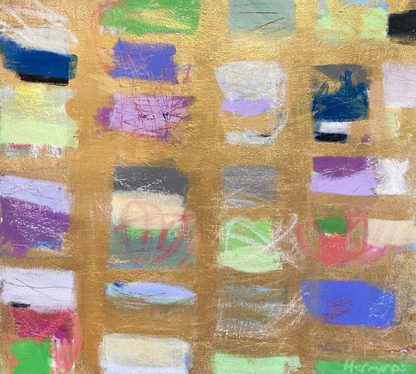 Ellen Hermanos painting of multicolored swatches on gold background