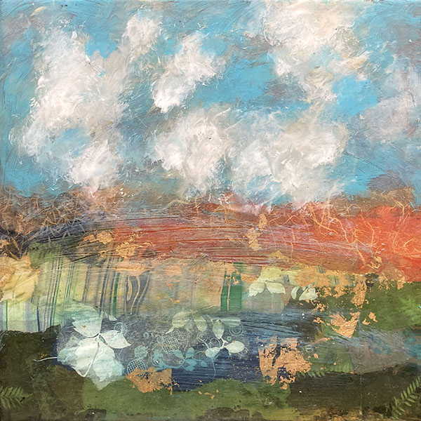 Paul Tiersky collage with resin of landscape with multiple colors