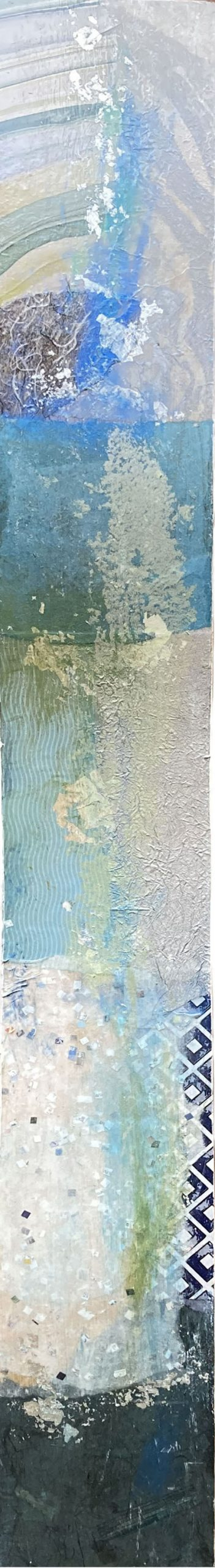 Paul Tiersky blue water-esque collage on wavy white panel